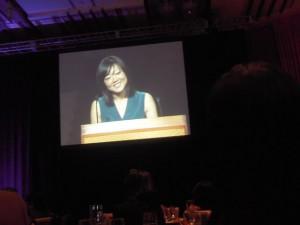 Euna Lee addresses the audience at Gala Scholarship & Awards Banquet.