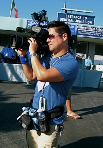 KTLA 'photog' Phil Ige collecting footage at Dodger Stadium