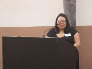 AAJA-LA President Joz Wong addresses mixer attendees.