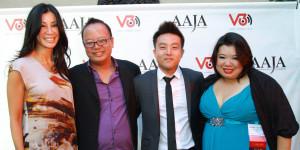 """2012 V3 Awards: (L-R) Honorees Lisa Ling (Visibility Award), Jeff Yang (Vision Award), David Choi (Visibility Award), and Jocelyn """"Joz"""" Wang (Voice Award)"""
