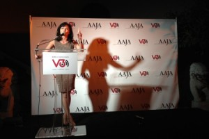 """Tamilyn Tomita introduces AAJA-LA  President Jocelyn """"Joz"""" Wang who was honored with V3's Voice Award."""