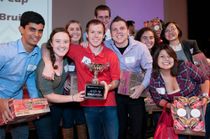 Team UCLA accepts the 2012 Grasshopper Cup and some instant noodles.  (Photo credit: Michael Palma for AAJA-LA)