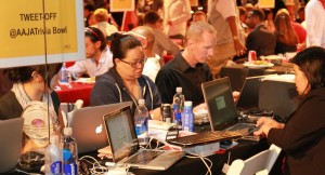 2012: The Trivia Bowl Tweet-off, Social Media and Scoreboard Teams are hard at work. (Photo credit: Michael Palma for AAJA-LA)